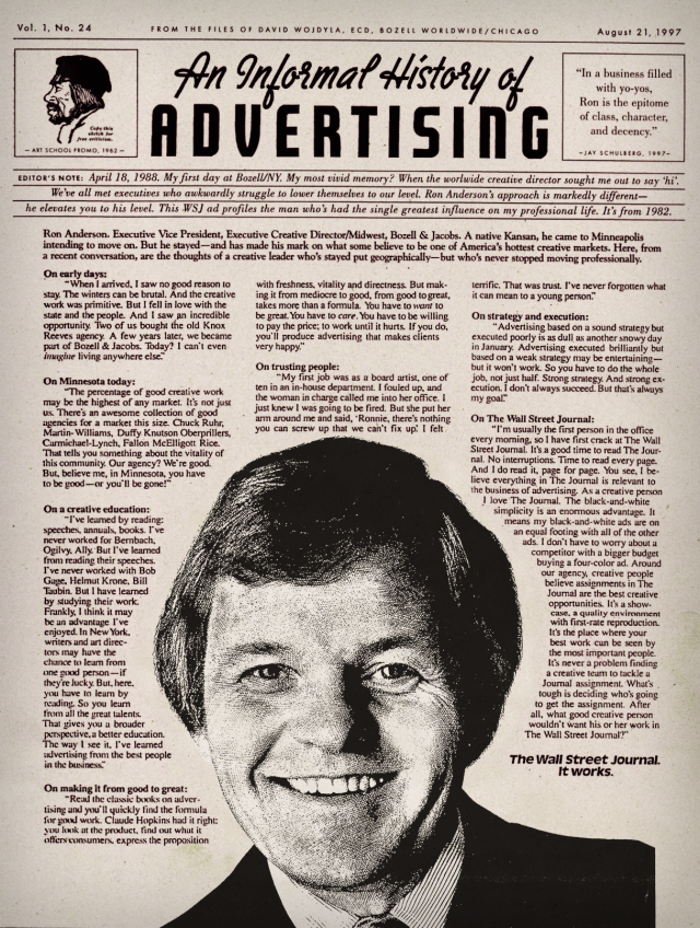 "Roland ""Ron"" Anderson in the Wall Street Journal Creative Leaders Series of advertisements"